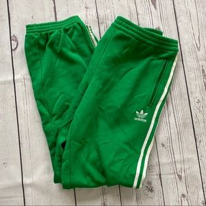 Men's Adidas green striped athletic sweat pants XL